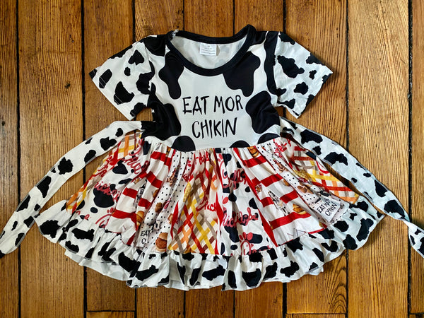 Chik Fil A Short Sleeve Ruffle Dress