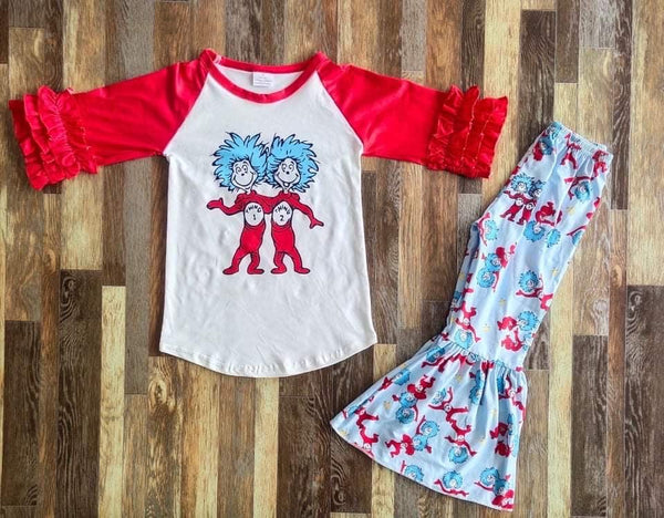 Seuss Thing 1 and 2 Top and Belle Bottom Set