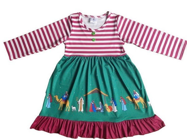 Nativity Green/Burgundy Christmas Dress