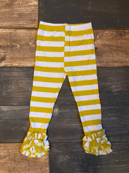 Mustard Yellow Gold/White Stripes Icing Leggings