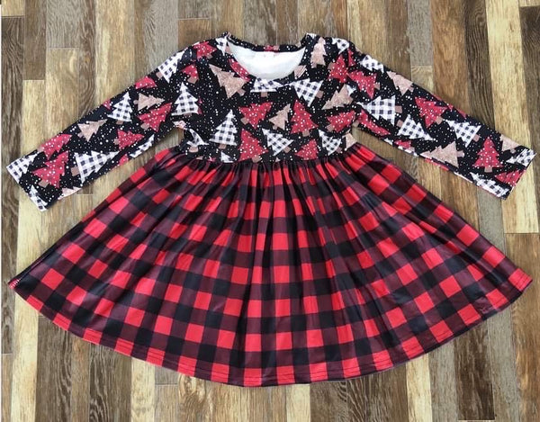Buffalo Plaid Tree Long Sleeve Dress