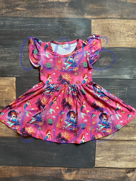 Ariel Print Milk Silk Dress Twirly Style