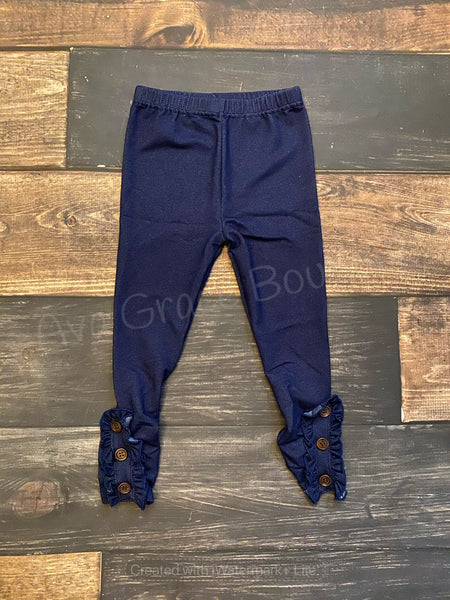 Denim Knit Side Ruffle Buttons Legging