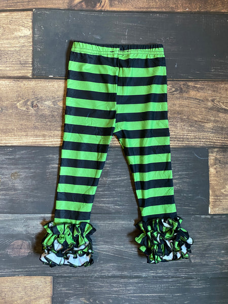 Lime Green and Black Stripes Icing Ruffle Leggings