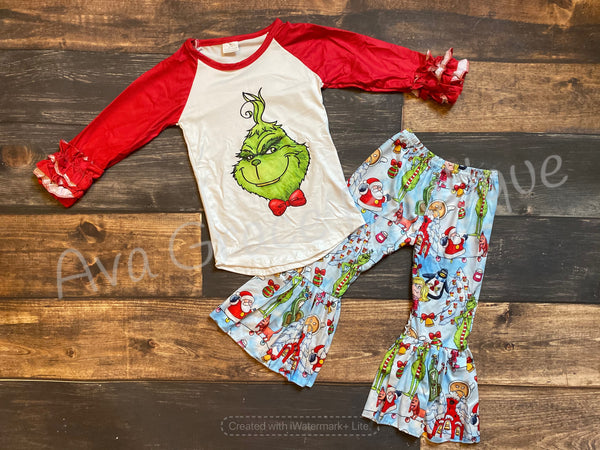 Grinch Top and Belle Bottom Set