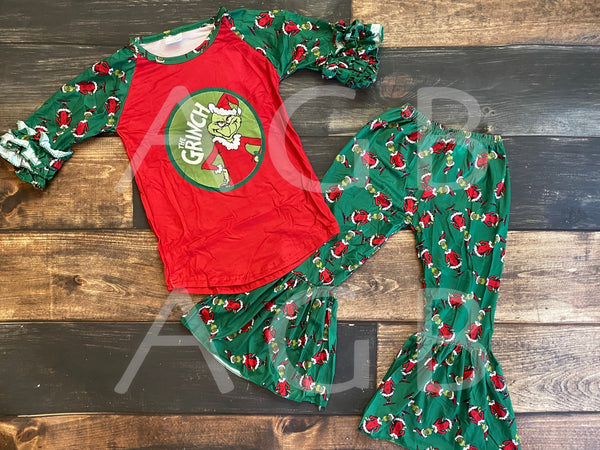 Green Grinch Top and Belle Bottom Set