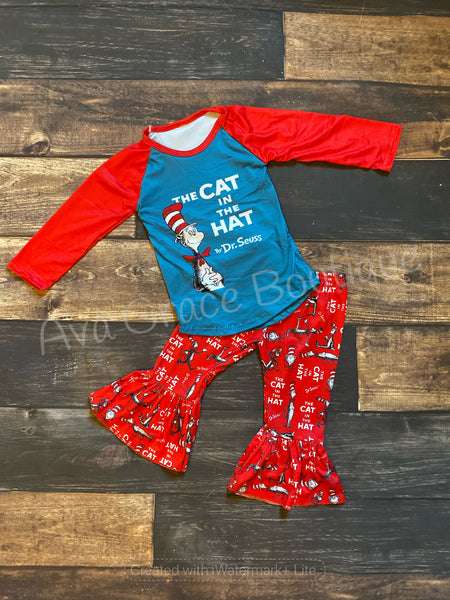 Cat In the Hat Top and Belle Bottom Set