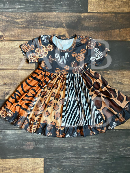 Mickey Safari Short Sleeve Twirly Dress