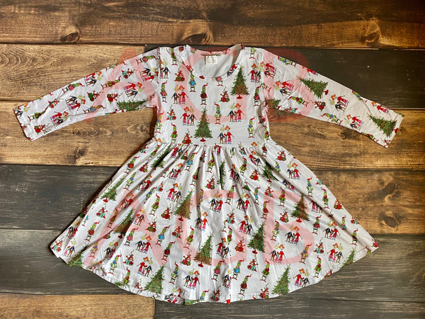 White Christmas Grinch Long Sleeve Twirly Dress