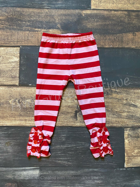 Red and Pink Stripes Side Ruffle Buttons Legging
