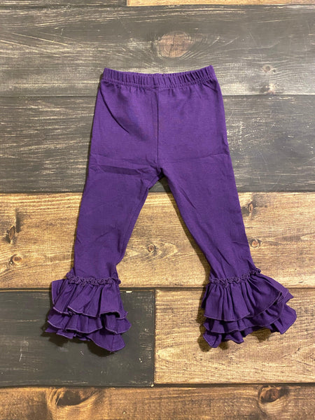 Purple Triple Ruffle Leggings