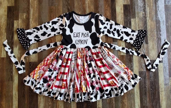 Chik Fil A Long Sleeve Ruffle Dress