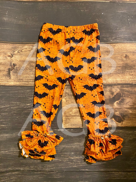 Orange Bats Halloween Triple Ruffle Leggings