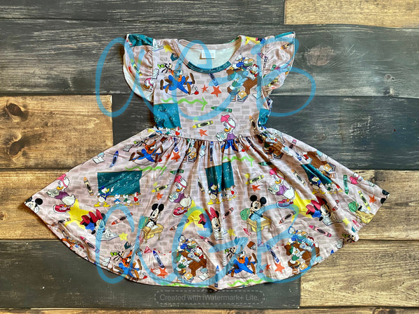 Back to School Characters Twirly Dress