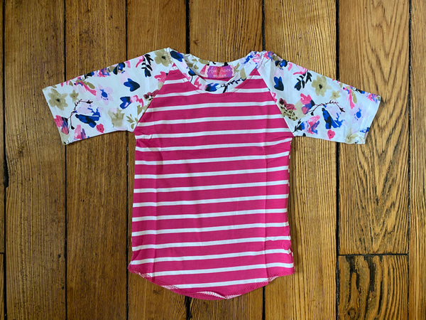 Floral Hot Pink Stripes Raglan 3/4 Tee