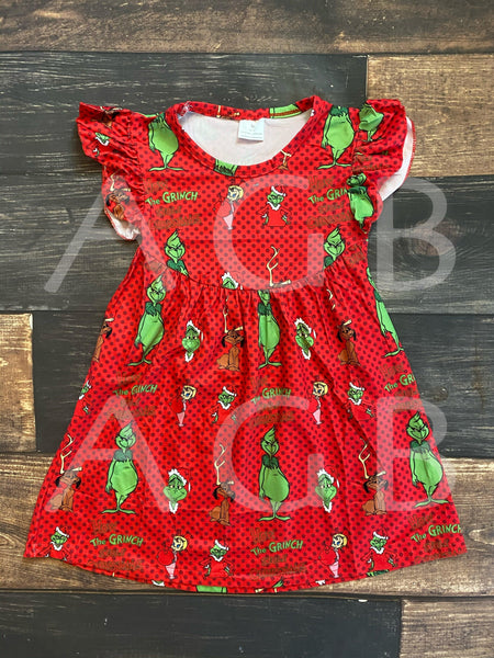 Red Christmas Grinch Pearl Dress