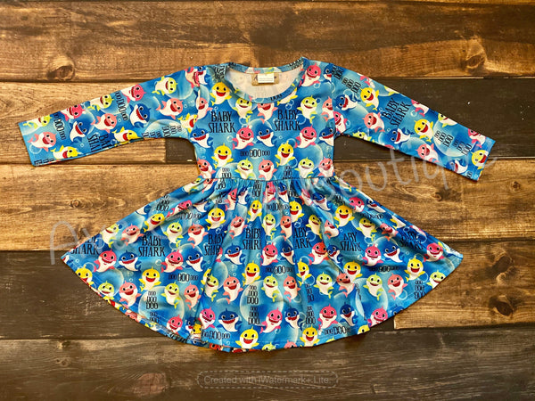 Baby Shark Long Sleeve Milk Silk Dress Twirly Style