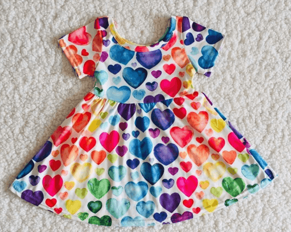 Rainbow Hearts Twirly Style