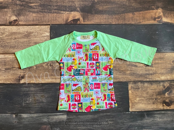 Christmas Grinch Long Sleeve Raglan Top