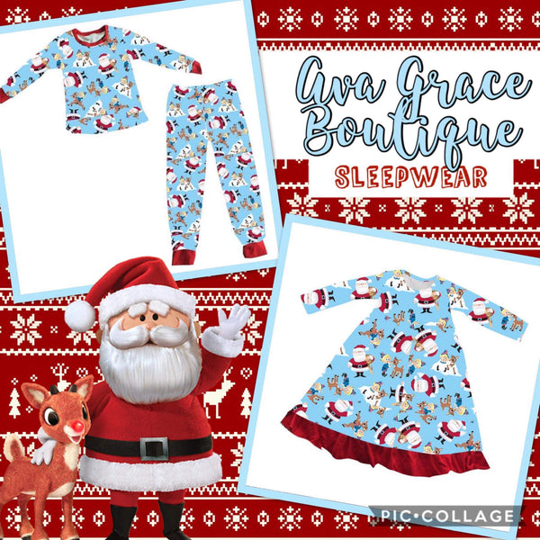 Christmas Rudolph/Santa Inspired 2 Pieces Pajama