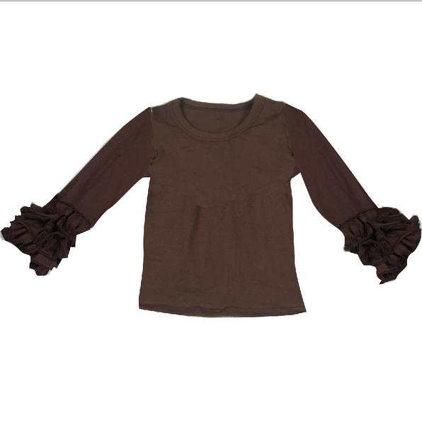 Brown Ruffle Long Sleeve Shirt - Preorder
