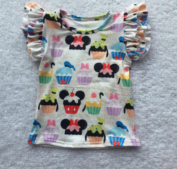 White Minnie Cupcakes Flutter Tank Top