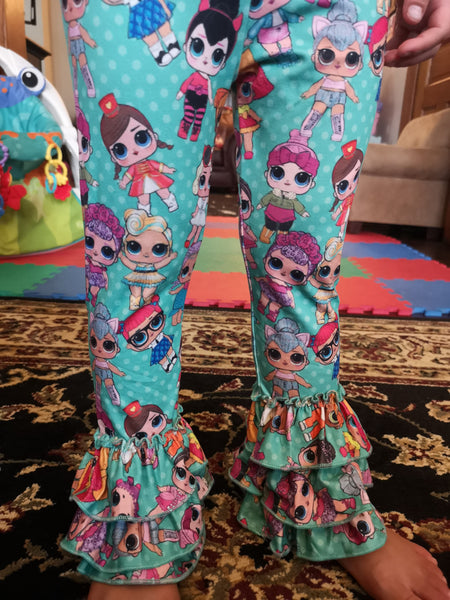 Dolls Print Green Ruffle Leggings