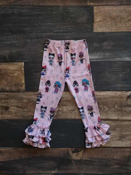 Dolls Print Pink Ruffle Leggings