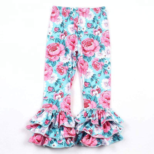 Pink Roses Triple Ruffle Milk Silk Leggings