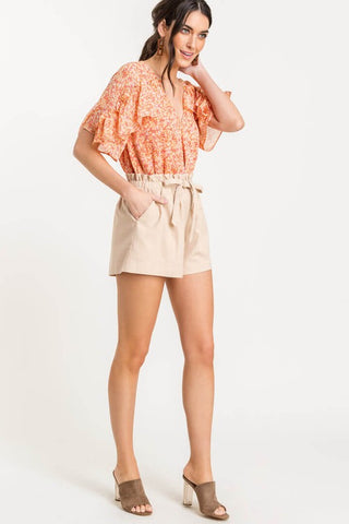 TRENDY TRELLIS BODYSUIT-ORANGE