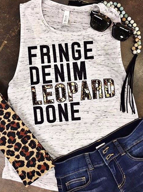 Fringe, Denim, Leopard, DONE.