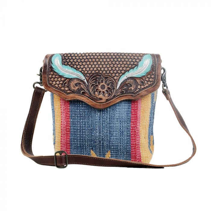 BLUE FEATHER HAND-TOOLED BAG