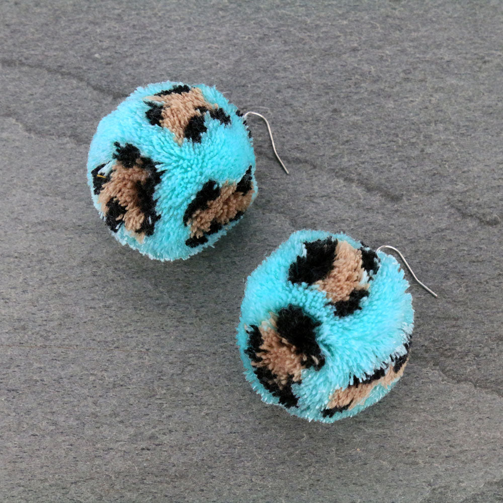 BUFFY POM EARRINGS - TURQ