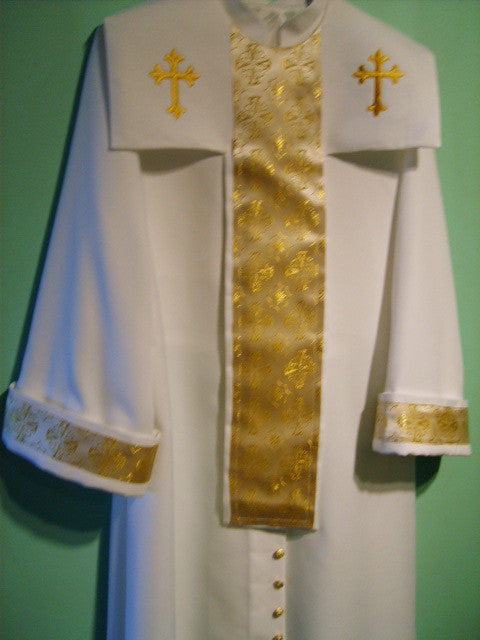 Three-piece Robe with Crepe & Gold Trimming