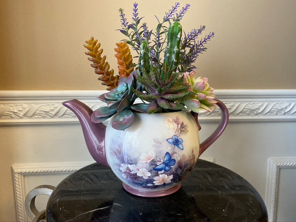 Decorative Planter in Lena Liu Floral Teapot with Green Grass Succulents and Cactus