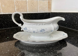 Johann Haviland Bavaria Germany Blue Garland Gravy Boat with Attached Under Plate - Nature Land Candles
