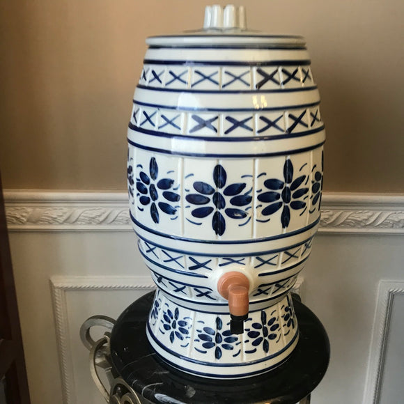 Porcelain Blue and White Large 384 Oz Brazilian Beverage/Water Dispenser