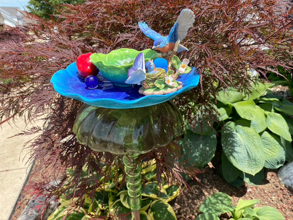 Bottle Yard Art With Blue bird, Vintage Green Glass and Ceramic Blue Flower Plate