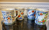 Vintage Takahashi San Francisco Set of 4 Porcelain Flowers and Birds 8 Ounce Mugs In Original Box - Nature Land Candles
