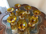 "Indiana Glass Iridescent Amber Large 11"" Harvest Grape Carnival Glass Pitcher & 8 Goblets"