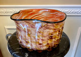 "Murano Style Hand Blown Orange and White Swirl 8 1/2"" Art Glass CenterPiece Bowl - Nature Land Candles"