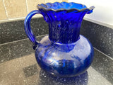 Vintage Cobalt Blue Blown Glass 64 Ounce Pitcher With Applied Handle - Nature Land Candles