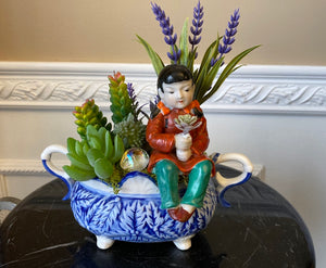 Decorative Blue and White Planter Green Grass Succulents and Occupied Japan Girl