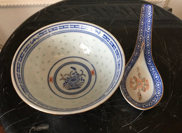 Jing De Zhen Blue and White Rice Eye Pattern Matching Rice Bowl and Spoon