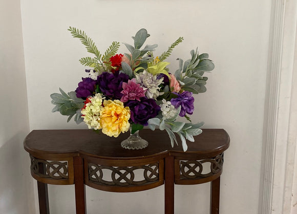 Floral Arrangement Centerpiece with Multi-Colored Silk Flowers on a Vintage Glass Cake Stand