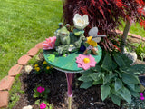 Repurposed Garden Yard Bottle Art with Flowers, Bird and Frog