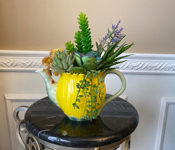 Yellow Sorell Porcelain Flower Teapot Planter with Green Grass Succulents