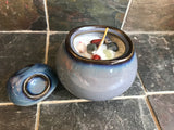 White Tea and Ginger Scented Palm Wax Candle in a Blue Ceramic Artist Bowl - Nature Land Candles