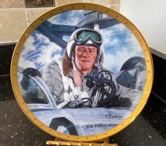 John Wayne Tribute to Jet Pilots Franklin Mint Heirloom Limited Edition Collector Plate - Nature Land Candles