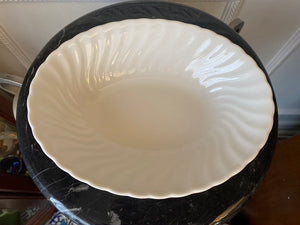 "Johnson Brothers Made in England White Swirl 9"" Oval Vegetable Bowl"
